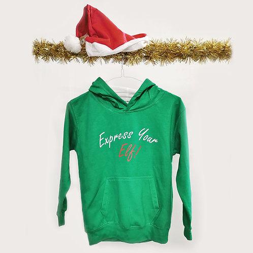 Express Your Elf Kids Varsity Hoodie