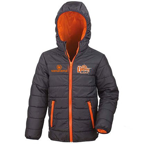 Storm Junior Puffer Jacket - Black/Orange (R233J)
