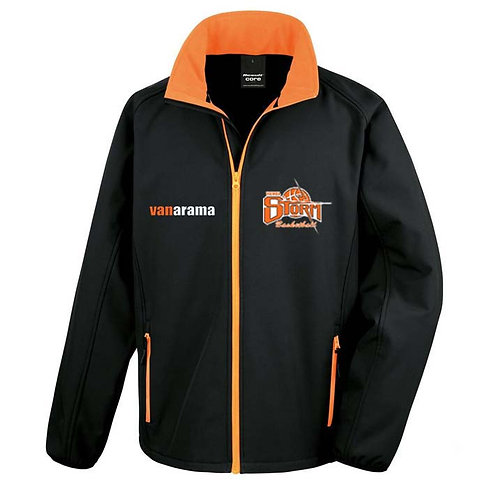 Storm Ladies Personalised Soft Shell - Black/Orange (R231F)