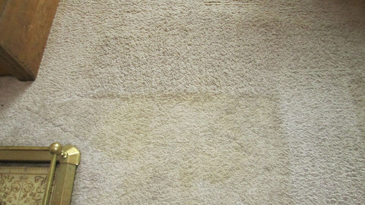 Carpet Cleaning a heavily soiled white carpet