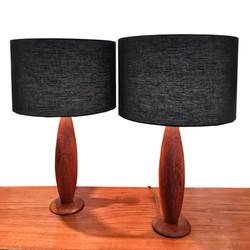 Paire lampe en teck 60's