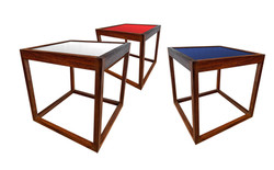 3 tables d'appoints en teck 60'