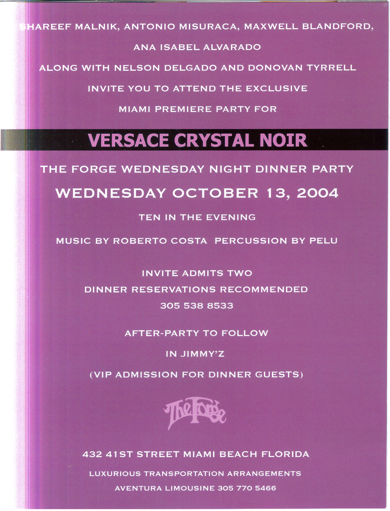 Versace Inside of invite