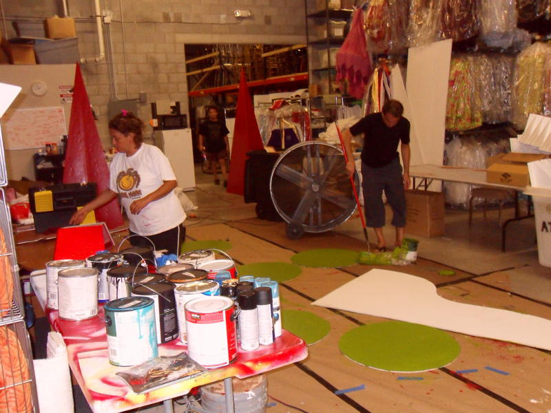 Staff Working and Painting on Decor