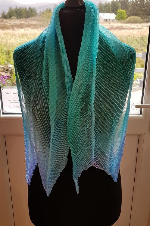 Turquoise Sea Green Georgette Shibori Silk Scarf
