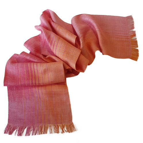 Coral Sky - Sunset Collection Handwoven Silk Scarf