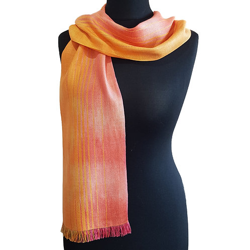 Apricot Sky - Sunset Collection Handwoven Silk Scarf
