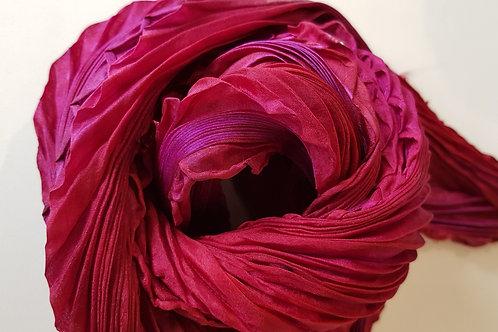 Ruby Arashi Shibori Silk Scarf
