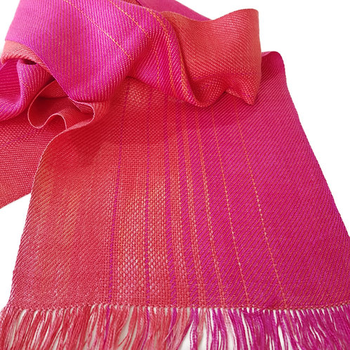 Coral Flame Sky - Sunset Collection Handwoven Silk Scarf