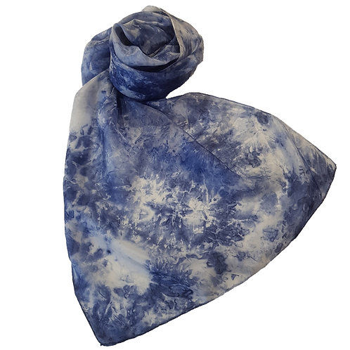 Stormy Navy Hand Dyed Silk Fabric Scarf