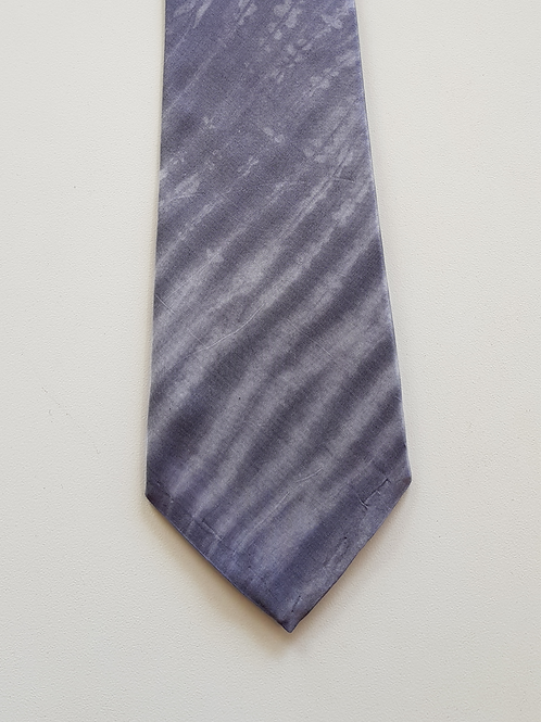 Men's Silk Tie Grey Arashi Shibori Stripe