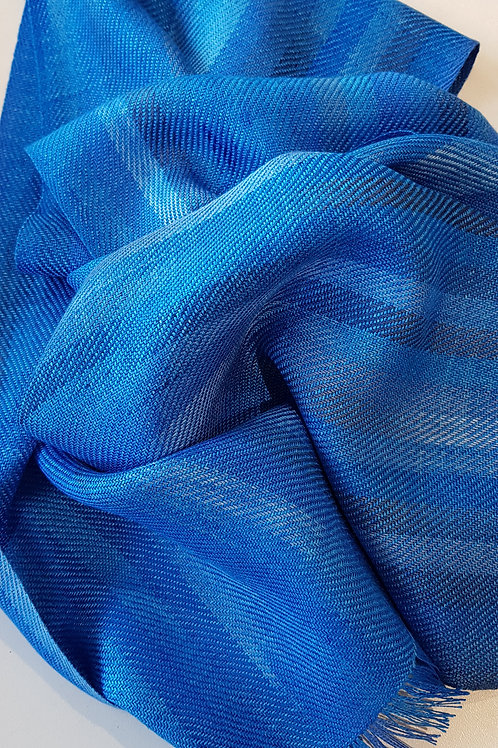 Blue Handwoven Silk Scarf