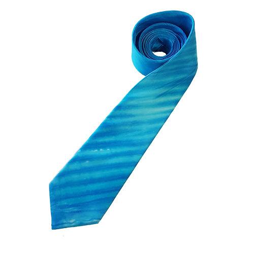 Blue Turquoise Arashi Shibori Stripe Silk Tie
