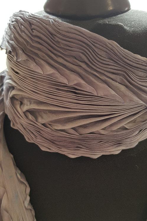 Grey Arashi Shibori Silk Scarf