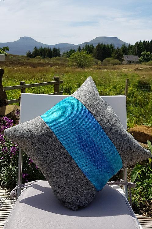 Grey Harris Tweed and Silk/Wool Cushion