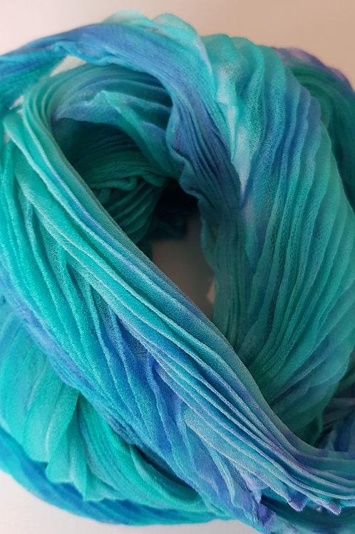 Jade Lilac Arashi Shibori Silk Georgette Scarf