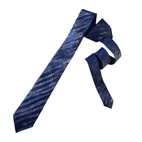 Navy Skinny Arashi Shibori Stripe Silk Tie