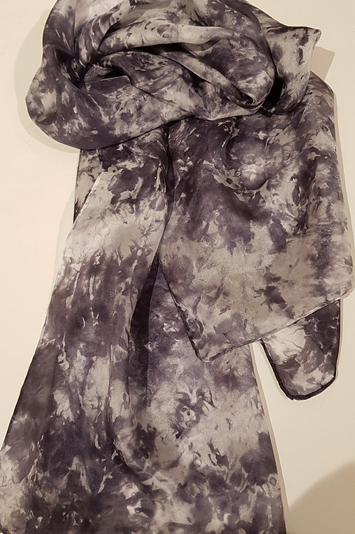 Stormy Skies Hand Dyed Silk Fabric Scarf