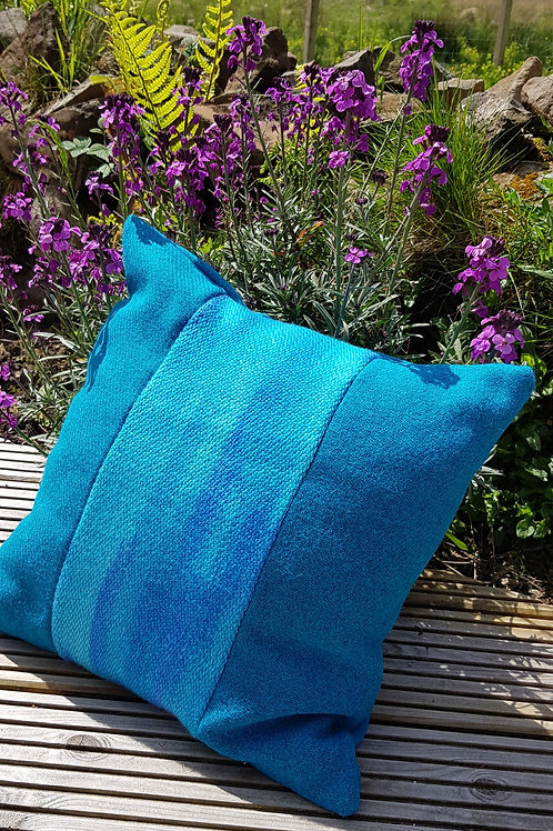 Turquoise Harris Tweed and Silk/Wool Cushion