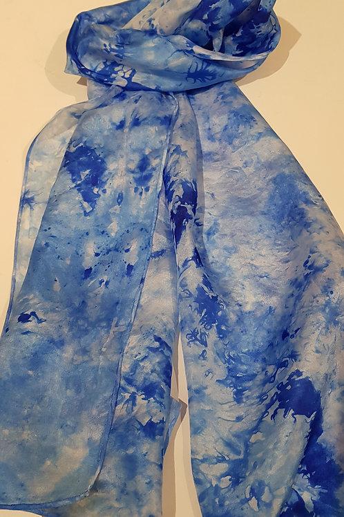 Blue Loch Hand Dyed Silk Fabric Scarf