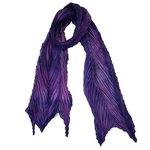 Purple Pink Arashi Shibori Silk Scarf