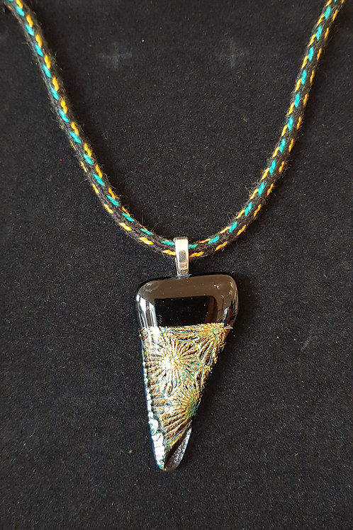 Green Gold Dichroic Glass Pendant with Silk Kumihimo Braid