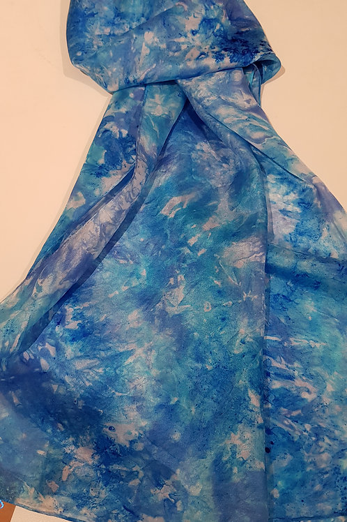 Blue and Turquoise Hand Dyed Silk Fabric Scarf