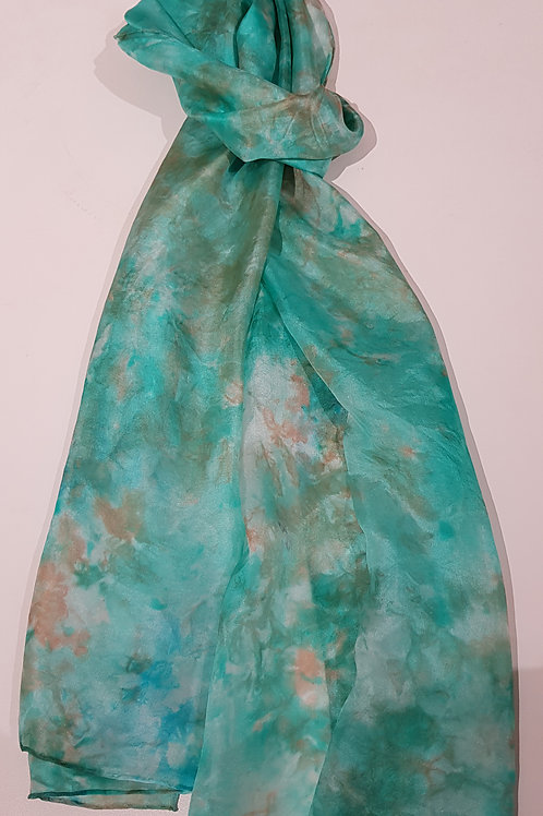 Jade Green and Rust Hand Dyed Silk Fabric Scarf