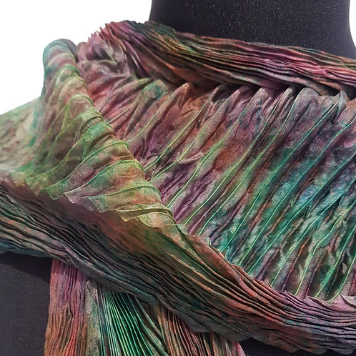 Leaf Arashi Shibori Silk Scarf