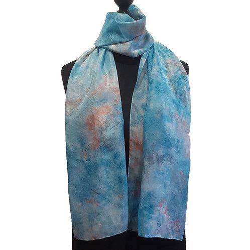 Light Verdigris Hand Dyed Silk Fabric Scarf