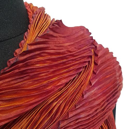 Autumn Flame Arashi Shibori Silk Scarf