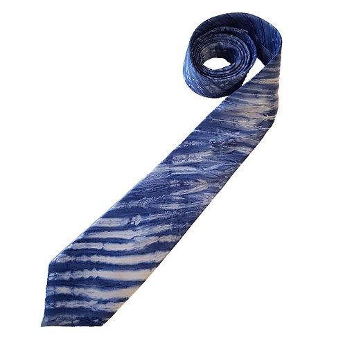 Navy Arashi Shibori Stripe Silk Tie