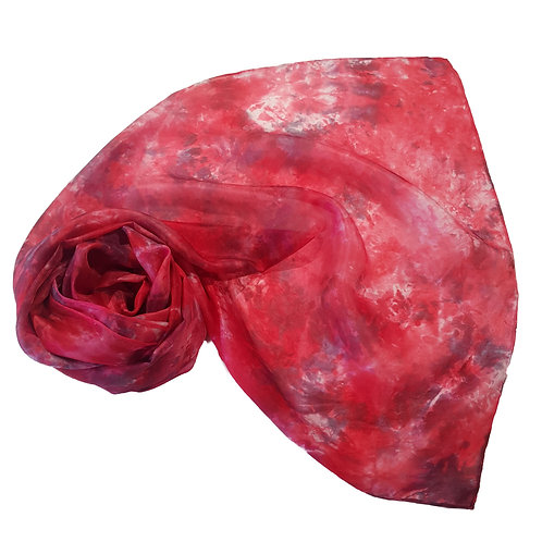 Red Charcoal Hand Dyed Silk Fabric Scarf