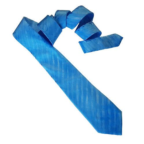 Blue Arashi Shibori Stripe Silk Tie