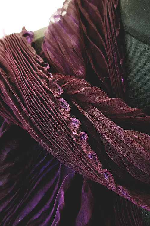 Deep Midnight Plum Arashi Shibori Silk Scarf