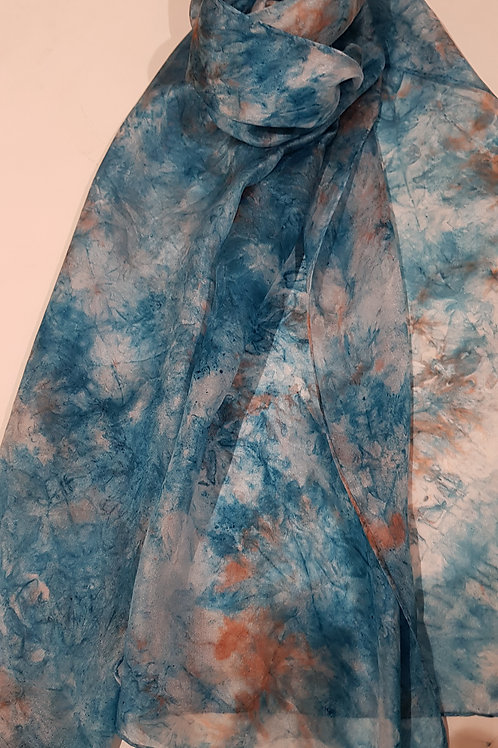 Sea Green and Rust Hand Dyed Silk Fabric Scarf