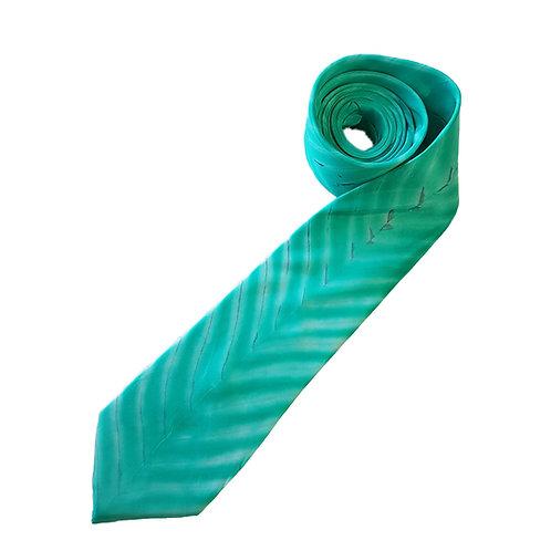 Jade Chevron Arashi Shibori Stripe Silk Tie