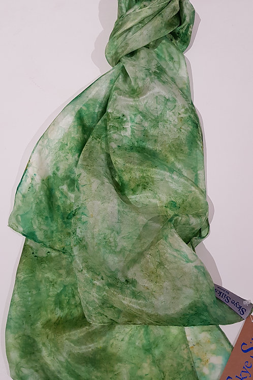 Forest Green Hand Dyed Silk Fabric Scarf