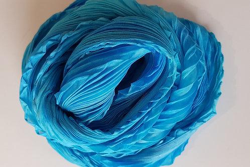 Turquoise Arashi Shibori Silk Scarf