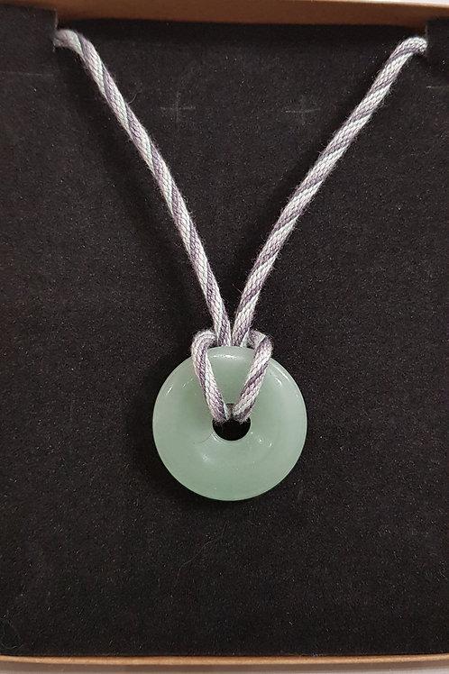 Green Gemstone Circle Pendant with Silk Kumihimo Braid