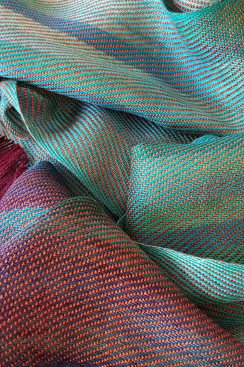 Green Bronze Bracken Handwoven Silk Scarf