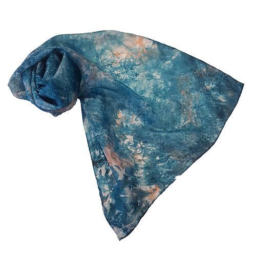Verdigris Hand Dyed Silk Fabric Scarf