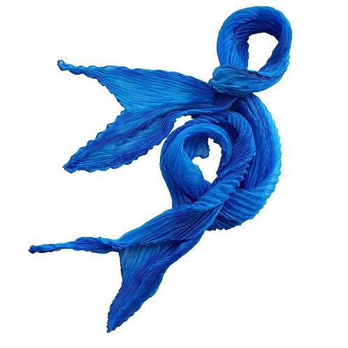 Blue Haze Arashi Shibori Silk Georgette Scarf