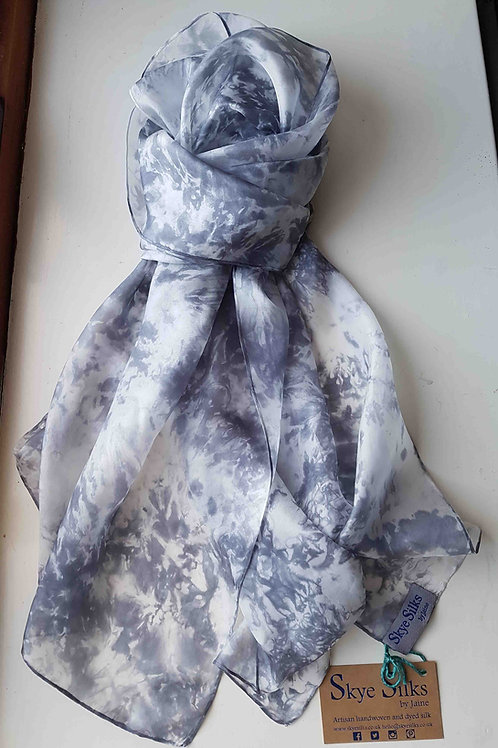 Snow Clouds Hand Dyed Silk Fabric Scarf