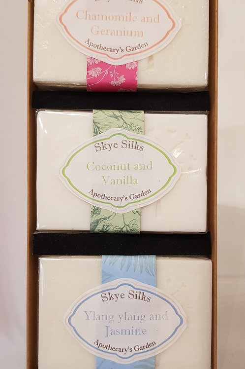 Boxed set of 3 Soaps with Silk