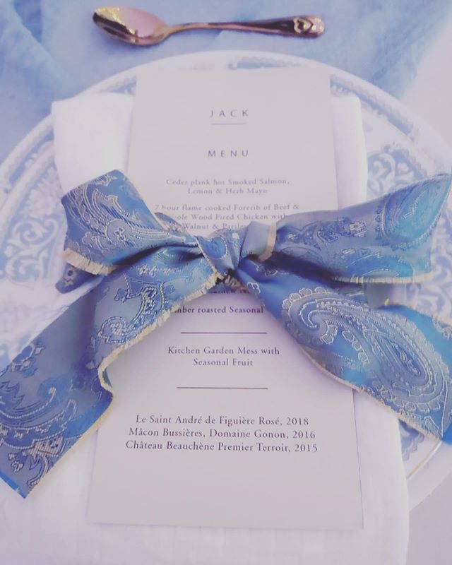 Beautiful blue and gold paisley ribbon l