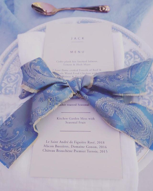 Beautiful blue and gold paisley ribbon l