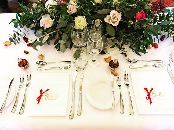 Hand lettered, torn edges vellum wedding