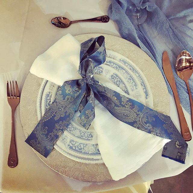 Dusky blue & copper #weddingtable #weddi