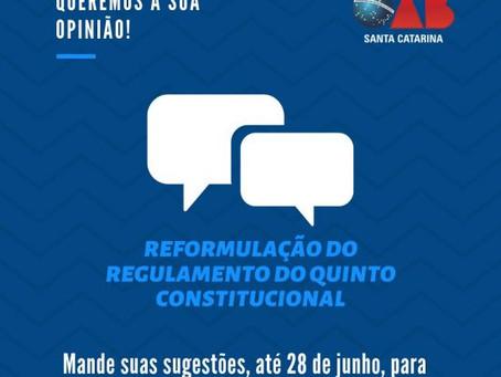 Prorrogado prazo de consulta sobre a reformulação do regulamento do Quinto Constitucional.
